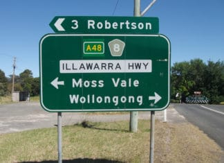 wollongong road sign aboriginal name
