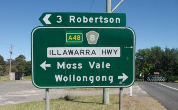 wollongong road sign aboriginal name