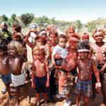 ABORIGINAL CHILDREN CEREMONY WELCOME OCHRE PAINT