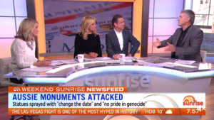 all white panel sunrise aboriginal statue debate