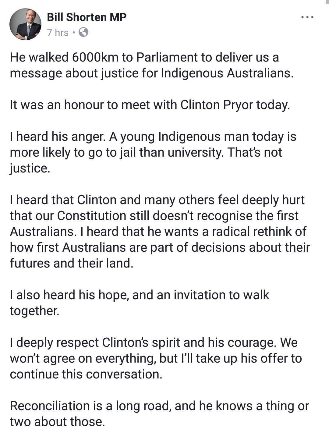 bill shorten facebook post clinton pryor