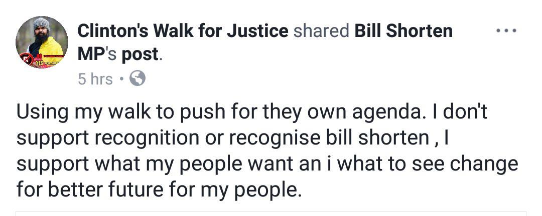 bill shorten facebook post clinton pryor
