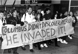 Columbus day protests in America