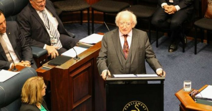 irish president aboriginal people genocide