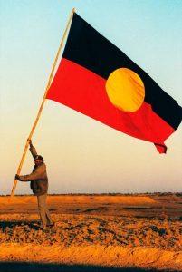 Aboriginal elder kevin buzzacot aboriginal flag