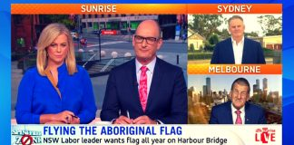 sunrise aboriginal flag sydney harbour bridge debate