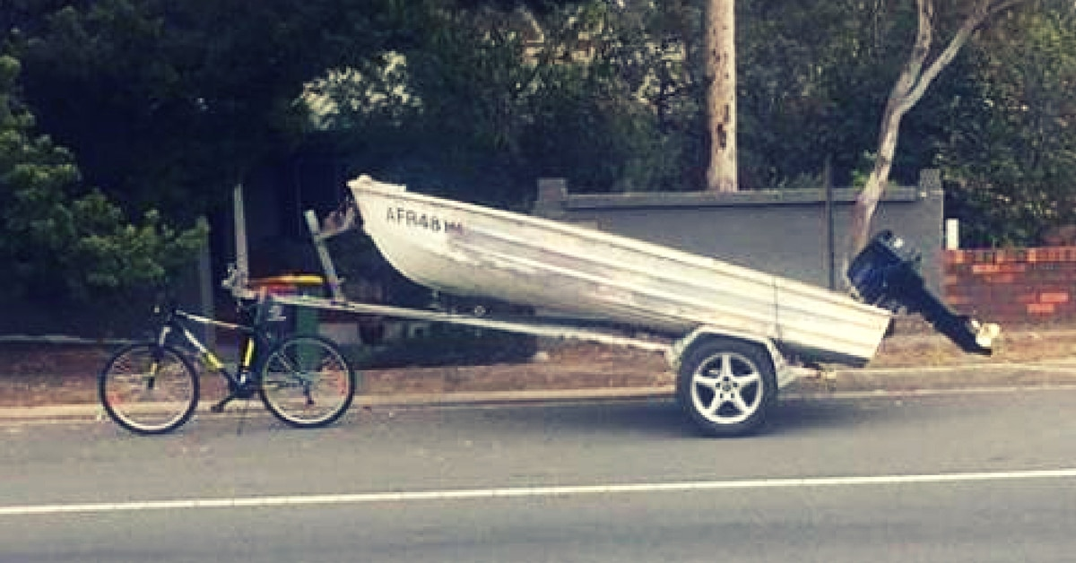 fishing boat towed with bicycle sydney jahmarley dawson